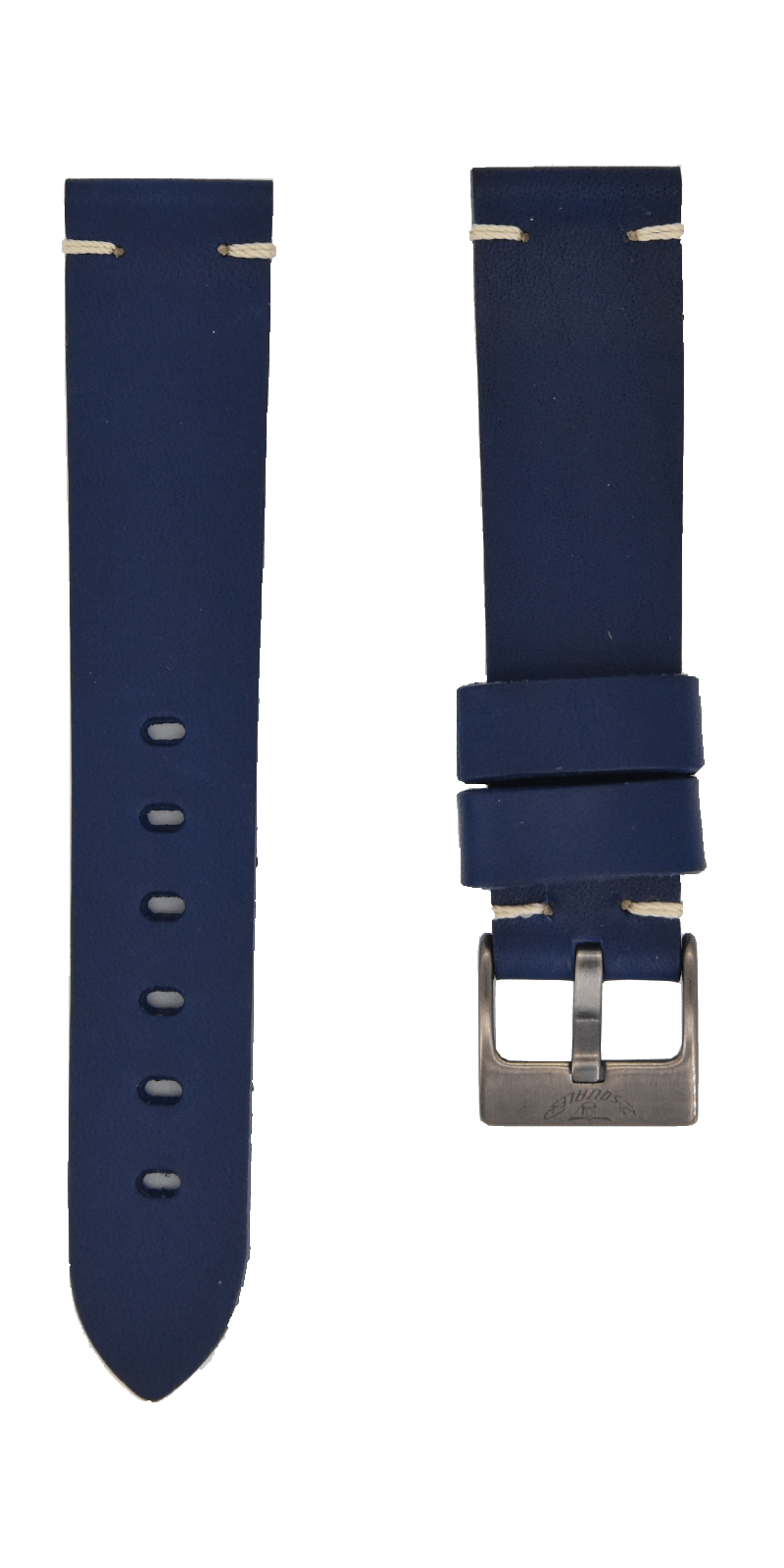Squale Handmade Navy Blue Leather Strap - 20mm cincuoblue